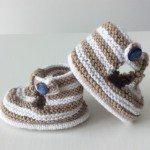 chaussons bébé tricot garçon salomé beige et blanc (1)