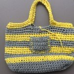sac trapilho gris jaune crochet maille